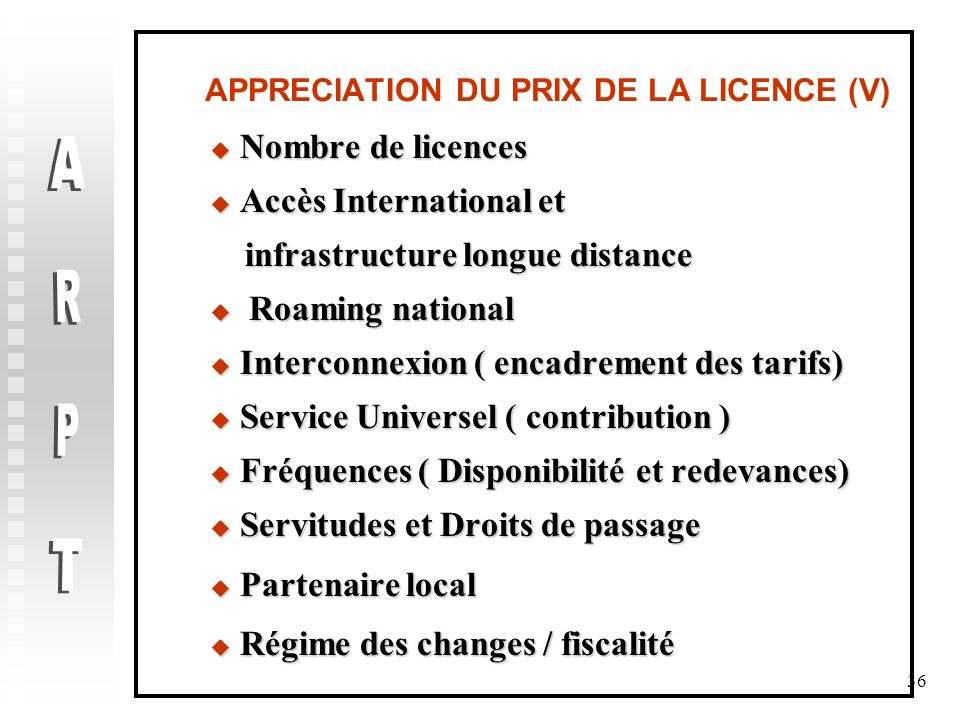 APPRECIATION DU PRIX DE LA LICENCE (V)