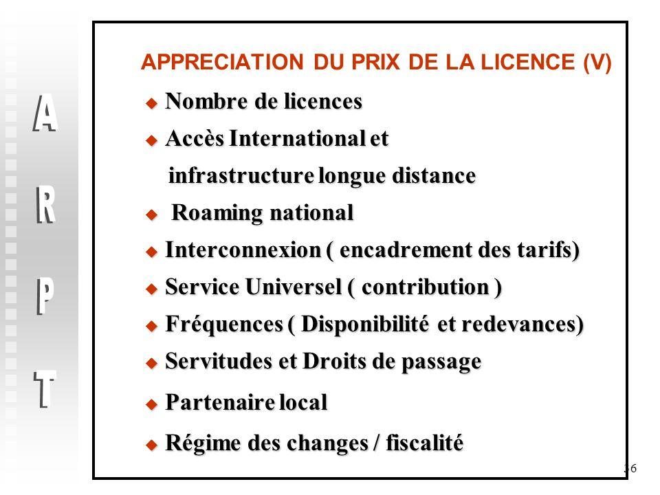 APPRECIATION DU PRIX DE LA LICENCE (V)