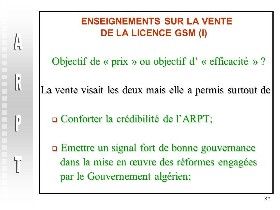 ENSEIGNEMENTS SUR LA VENTE DE LA LICENCE GSM (I)