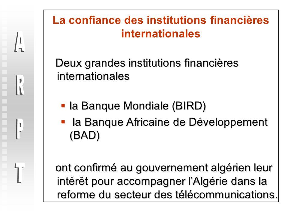 La confiance des institutions financières internationales