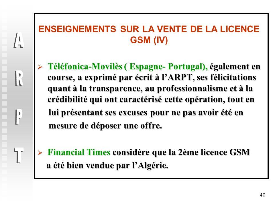 ENSEIGNEMENTS SUR LA VENTE DE LA LICENCE GSM (IV)