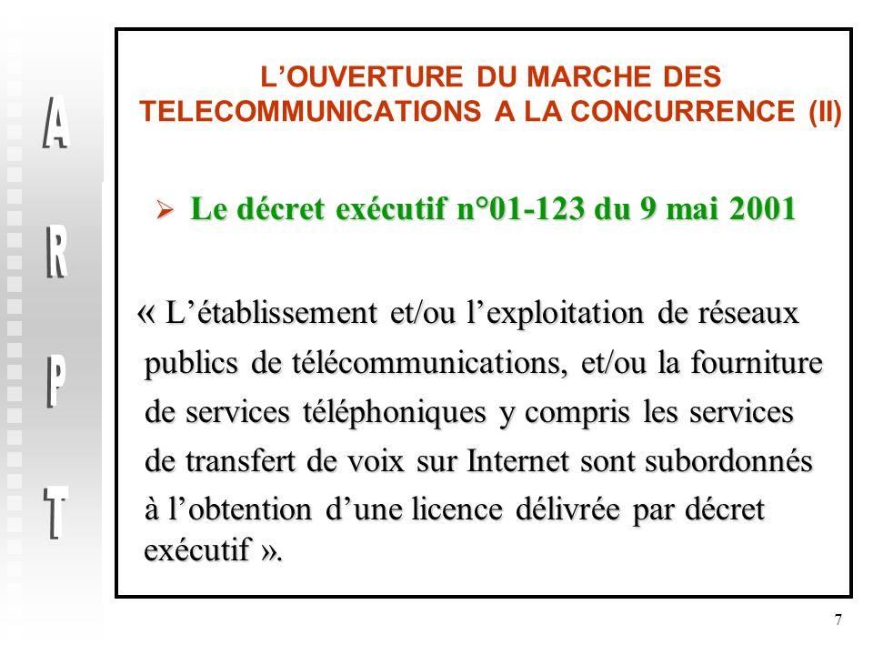 L'OUVERTURE DU MARCHE DES TELECOMMUNICATIONS A LA CONCURRENCE (II)