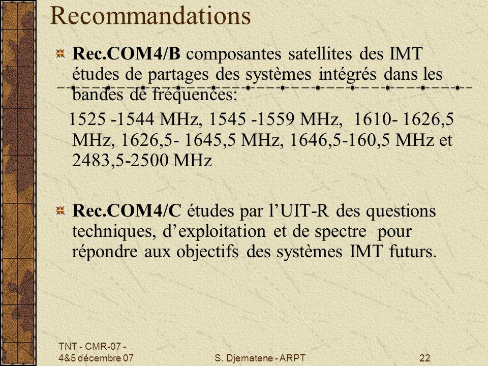 Recommandations Rec.COM4/B composantes satellites des IMT études de partages des systèmes intégrés dans les bandes de fréquences: