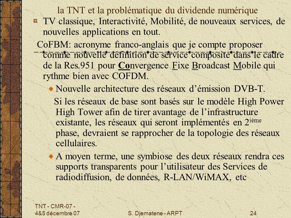 la TNT et la problématique du dividende numérique
