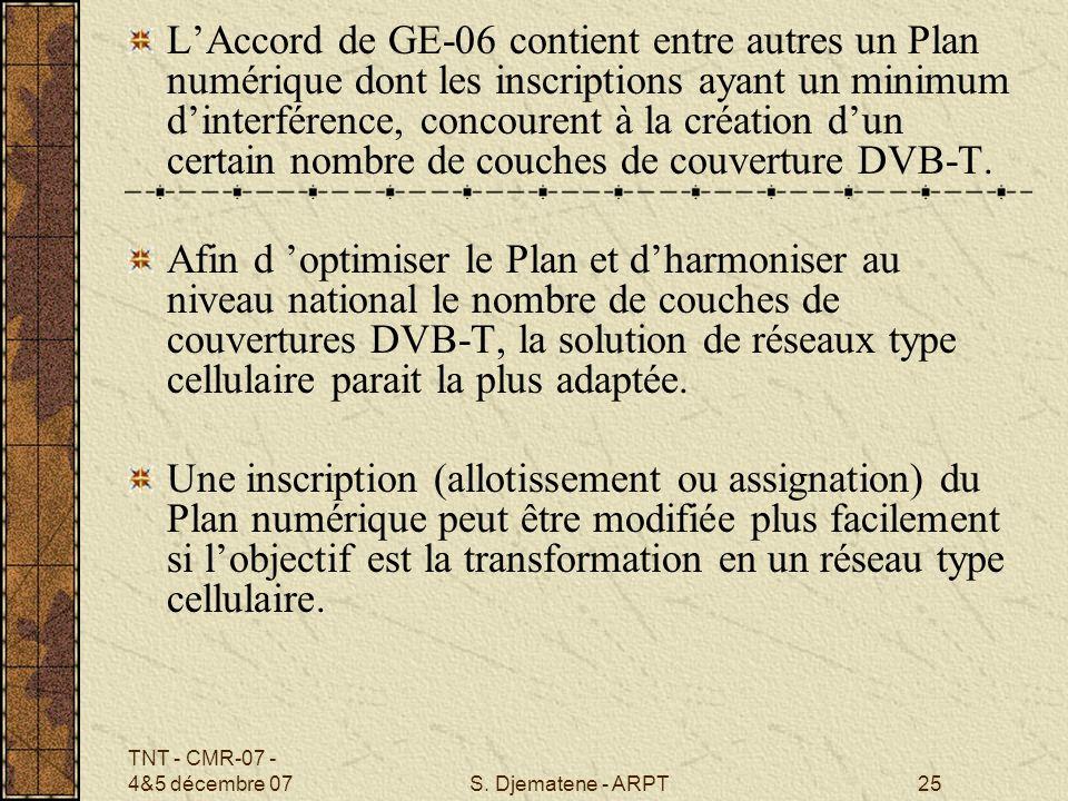 L'Accord de GE-06 contient entre autres un Plan numérique dont les inscriptions ayant un minimum d'interférence, concourent à la création d'un certain nombre de couches de couverture DVB-T.