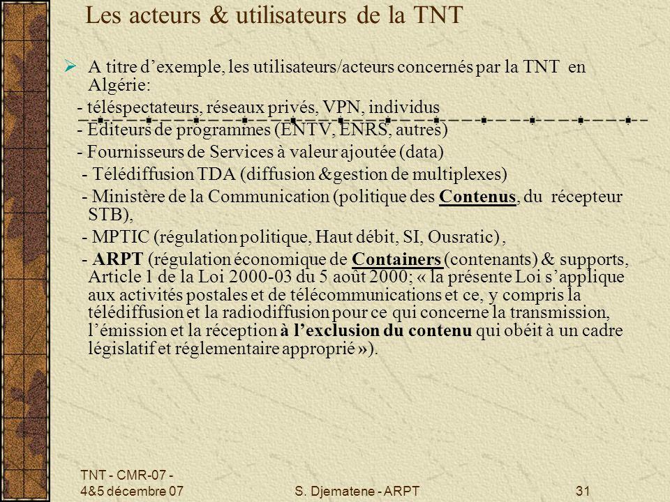 Les acteurs & utilisateurs de la TNT