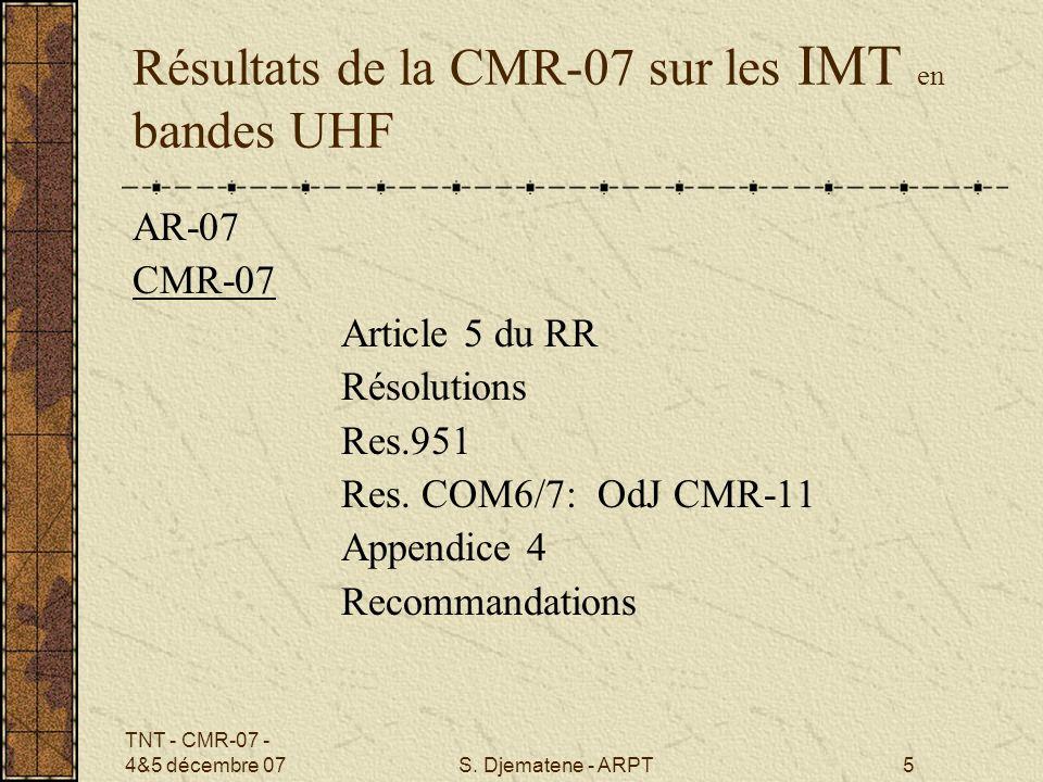 Résultats de la CMR-07 sur les IMT en bandes UHF