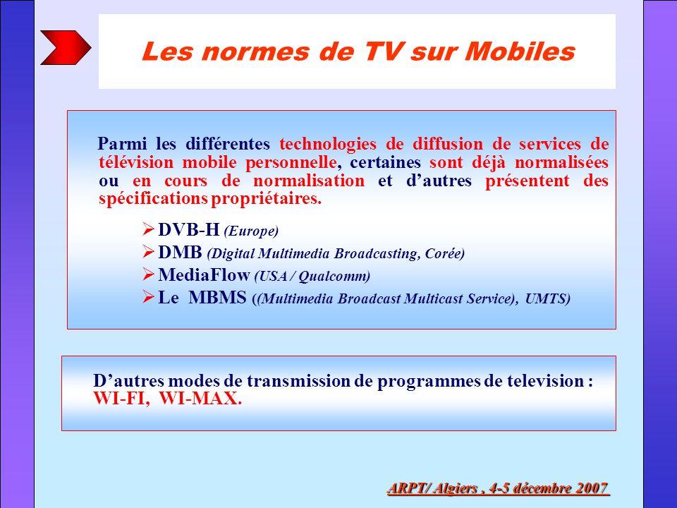 Les normes de TV sur Mobiles ARPT/ Algiers , 4-5 décembre 2007