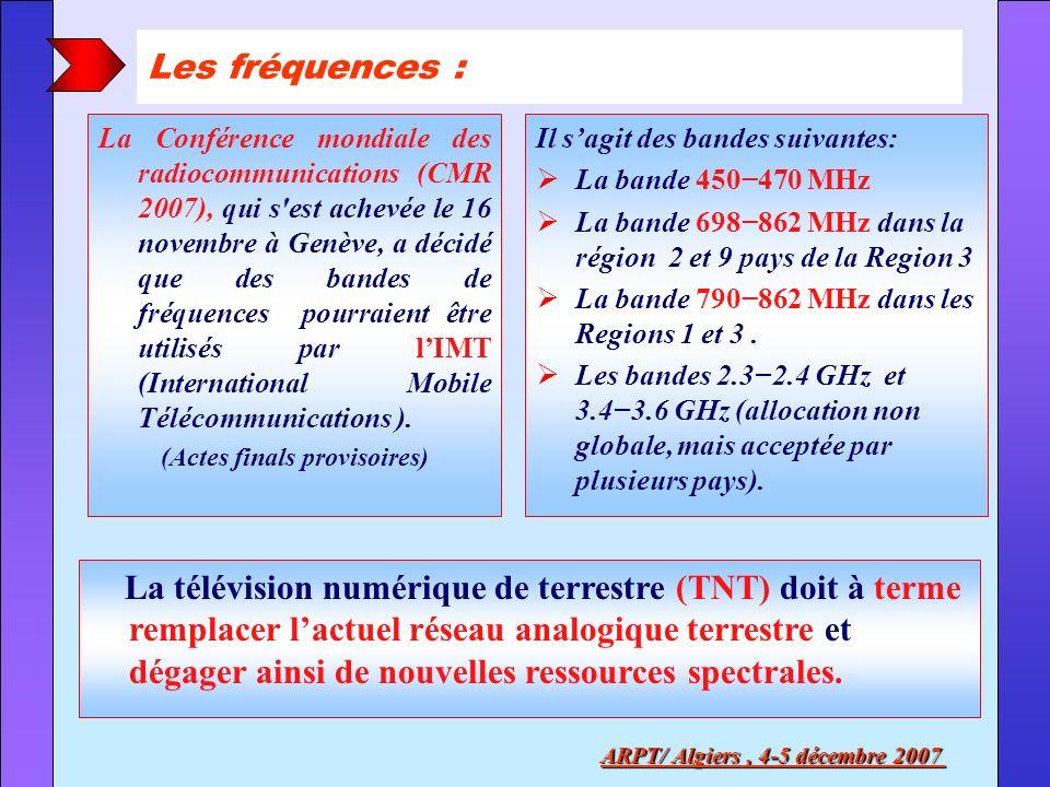 (Actes finals provisoires) ARPT/ Algiers , 4-5 décembre 2007