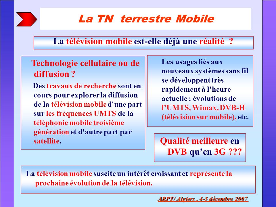 La TN terrestre Mobile La télévision mobile est-elle déjà une réalité Technologie cellulaire ou de diffusion