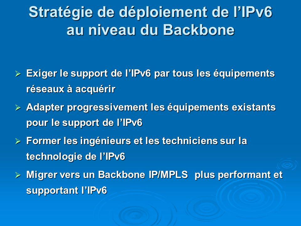 Stratégie de déploiement de l'IPv6 au niveau du Backbone