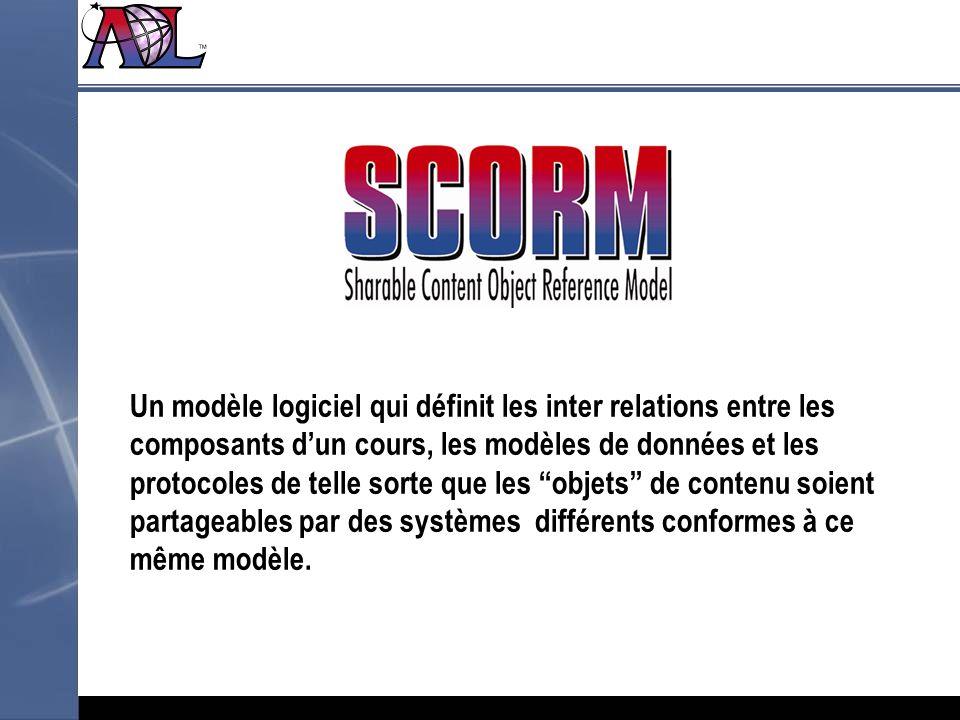 Un modèle logiciel qui définit les inter relations entre les composants d'un cours, les modèles de données et les protocoles de telle sorte que les objets de contenu soient partageables par des systèmes différents conformes à ce même modèle.