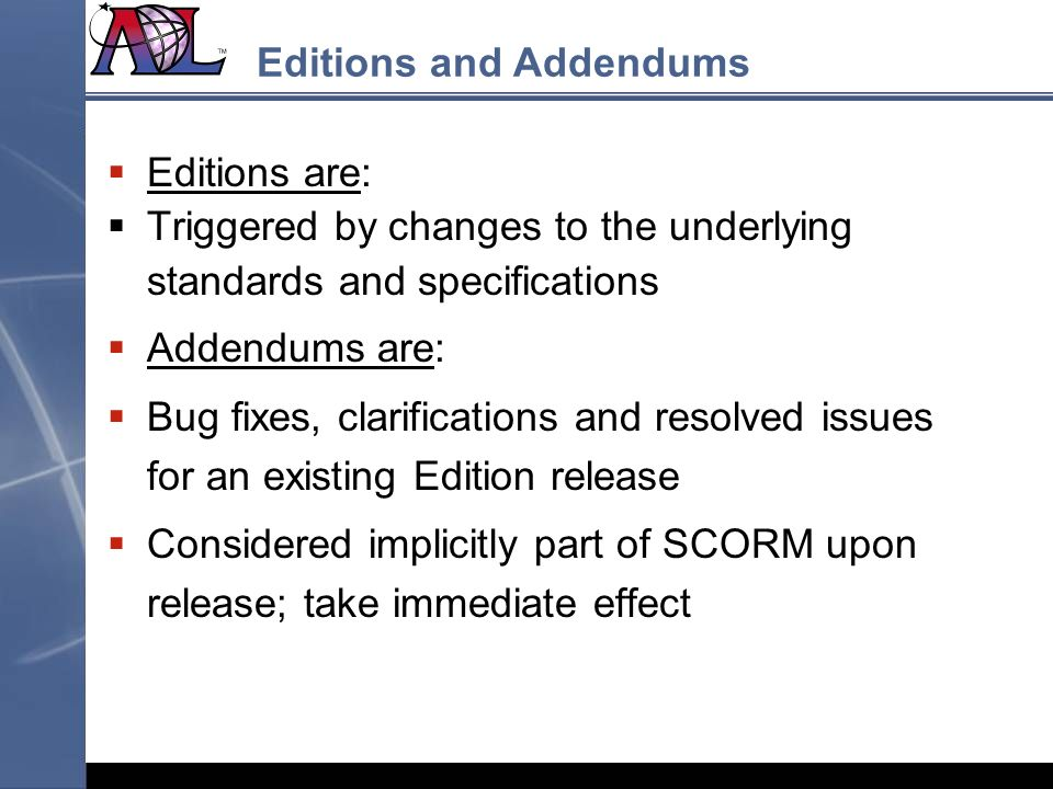 Editions and Addendums
