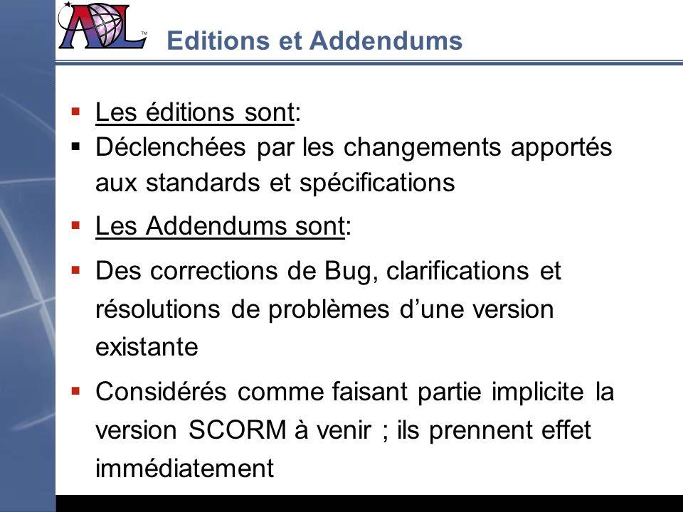 Editions et Addendums Les éditions sont: