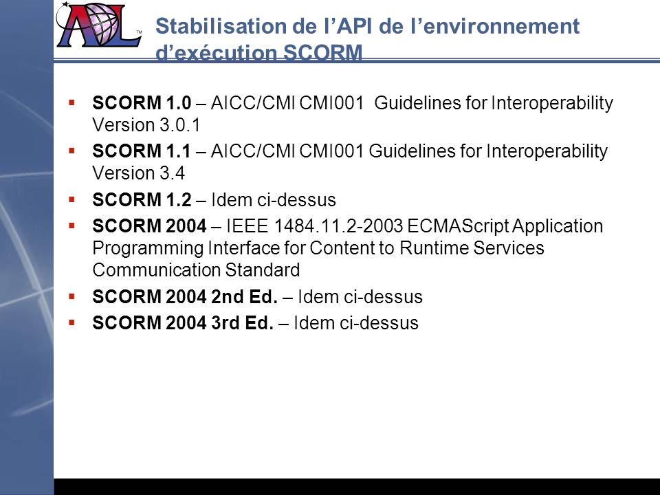 Stabilisation de l'API de l'environnement d'exécution SCORM