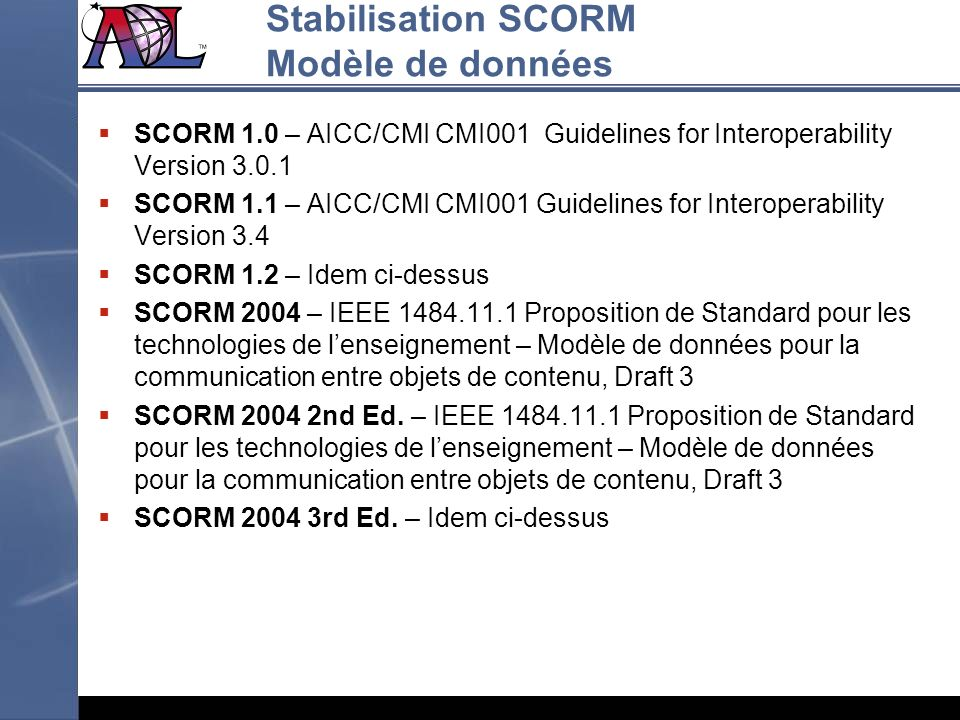 Stabilisation SCORM Modèle de données