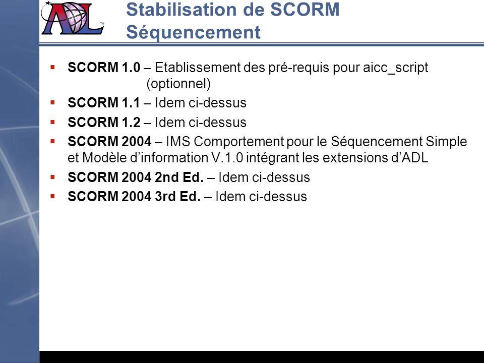 Stabilisation de SCORM Séquencement