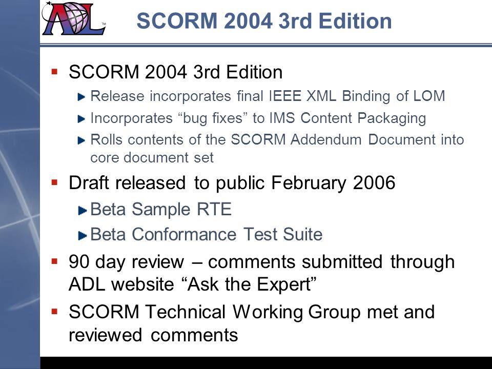 SCORM 2004 3rd Edition SCORM 2004 3rd Edition