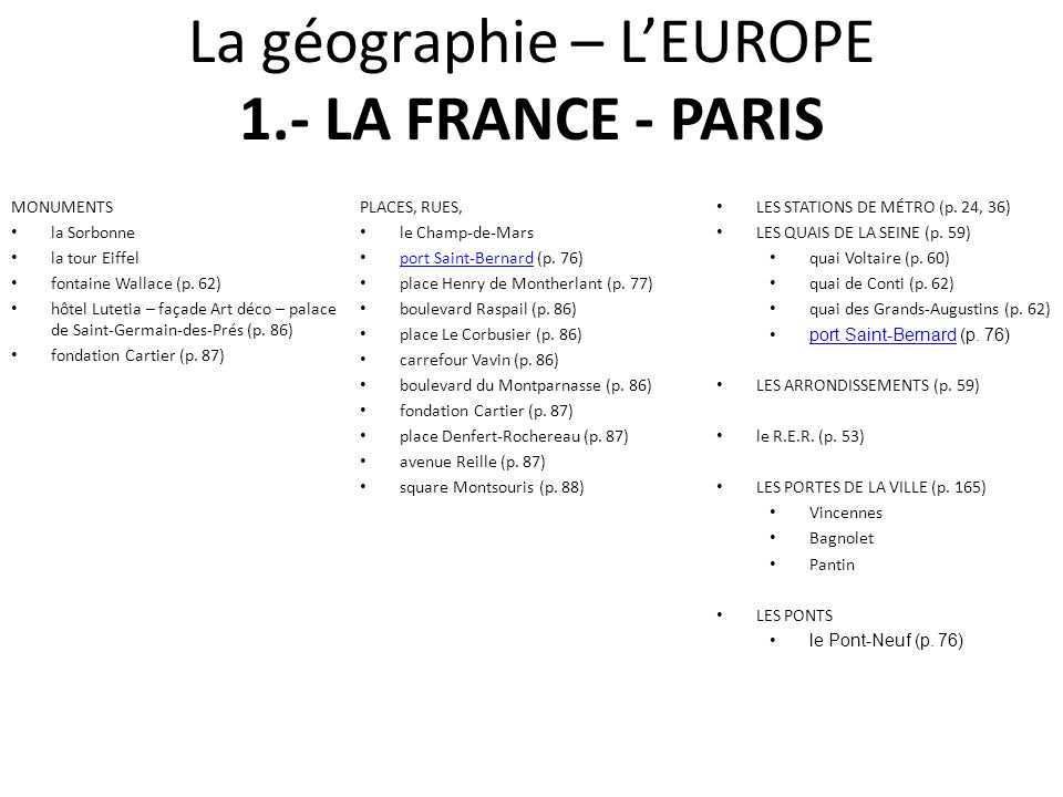 La géographie – L'EUROPE 1.- LA FRANCE - PARIS