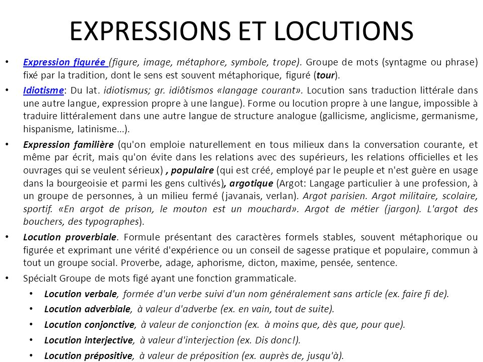 EXPRESSIONS ET LOCUTIONS