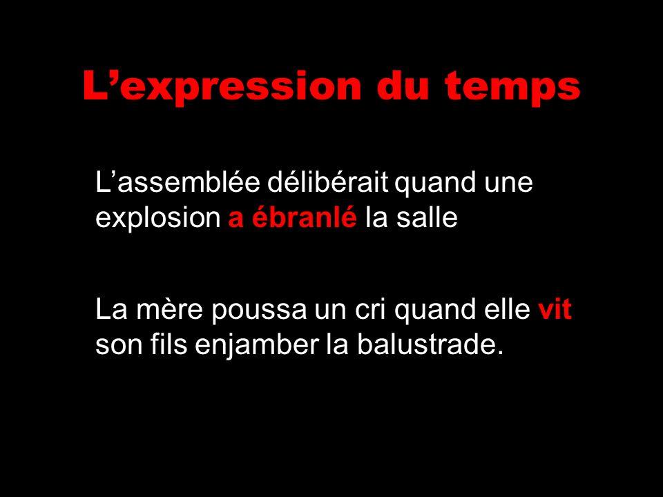 L'expression du tempsL'assemblée délibérait quand une explosion a ébranlé la salle.