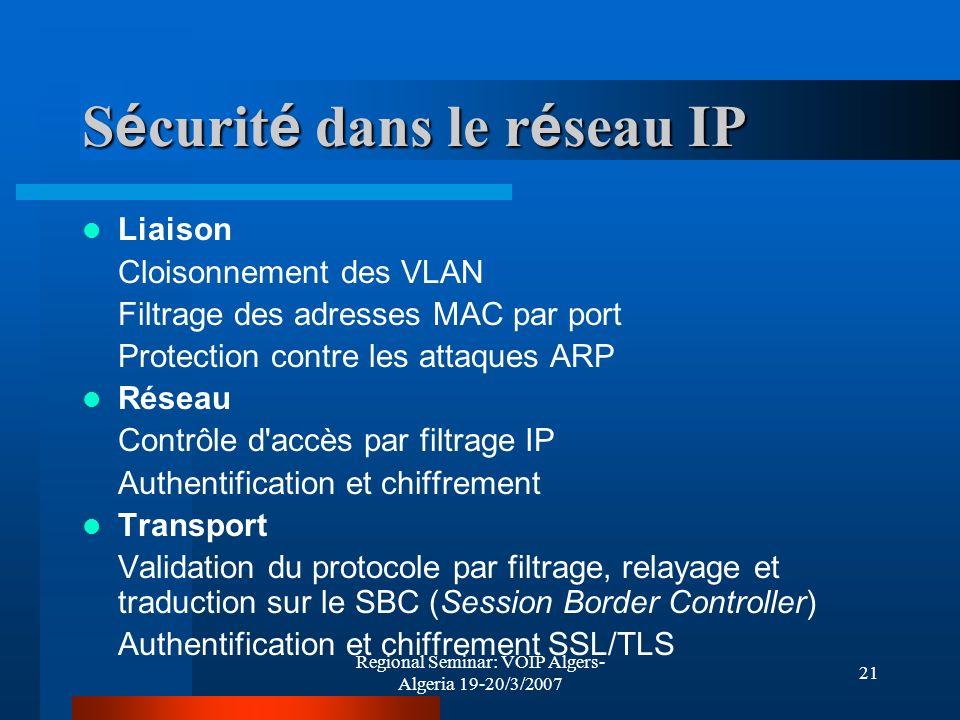 Sécurité dans le réseau IP