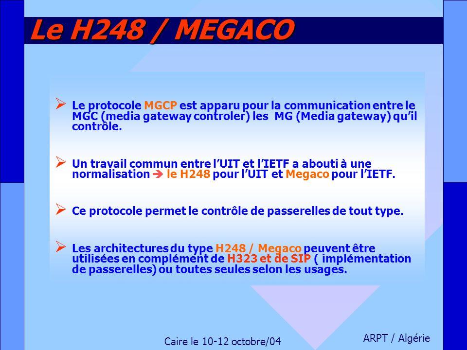 Le H248 / MEGACO Le protocole MGCP est apparu pour la communication entre le MGC (media gateway controler) les MG (Media gateway) qu'il contrôle.