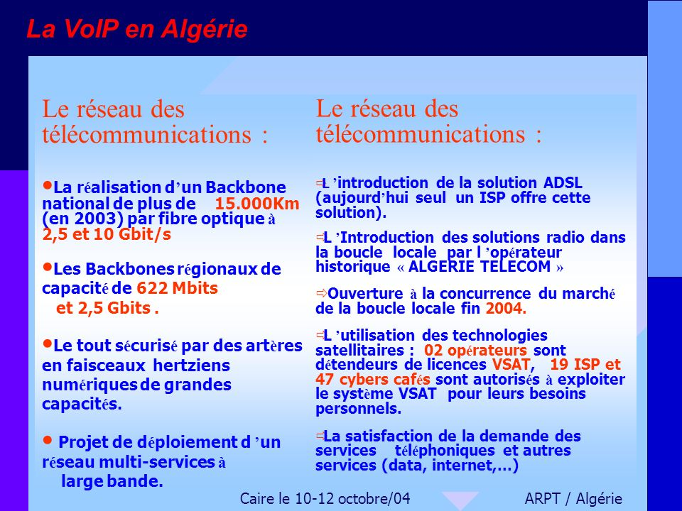 Le réseau des télécommunications : Le réseau des télécommunications :