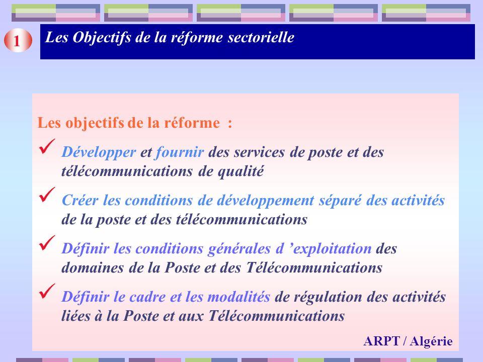Les Objectifs de la réforme sectorielle 1
