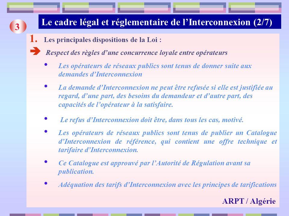 Le cadre légal et réglementaire de l'Interconnexion (2/7) 3