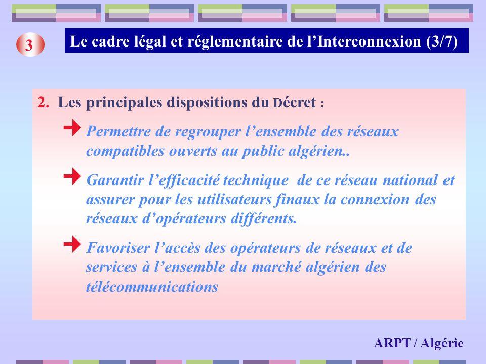 Le cadre légal et réglementaire de l'Interconnexion (3/7) 3