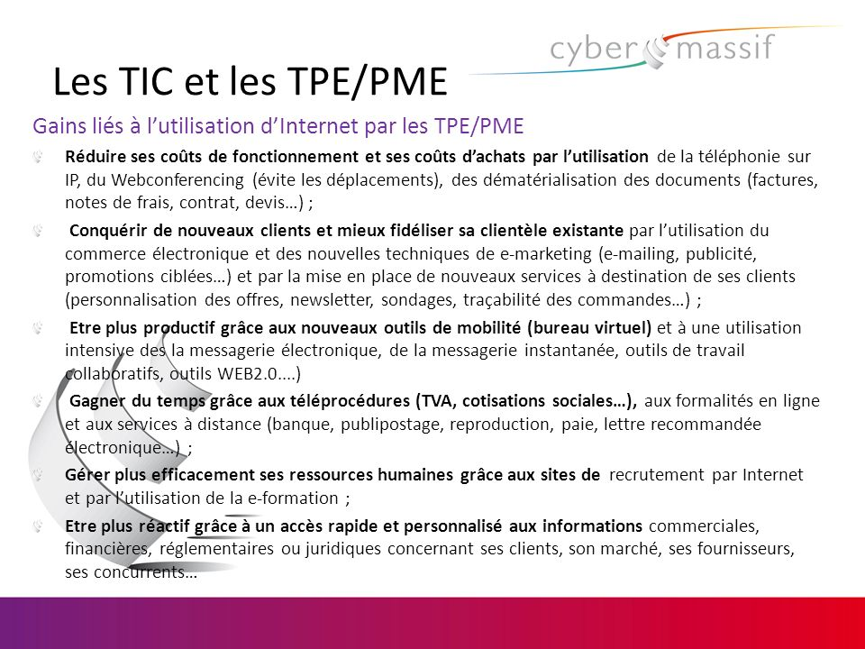 Les TIC et les TPE/PME Gains liés à l'utilisation d'Internet par les TPE/PME.