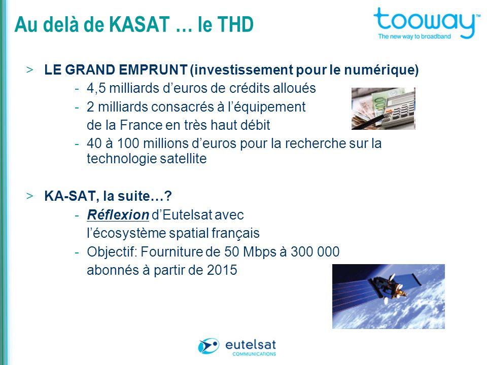 Au delà de KASAT … le THD LE GRAND EMPRUNT (investissement pour le numérique) 4,5 milliards d'euros de crédits alloués.