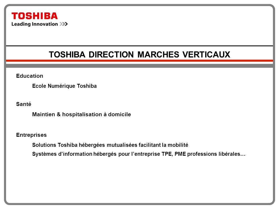 TOSHIBA DIRECTION MARCHES VERTICAUX