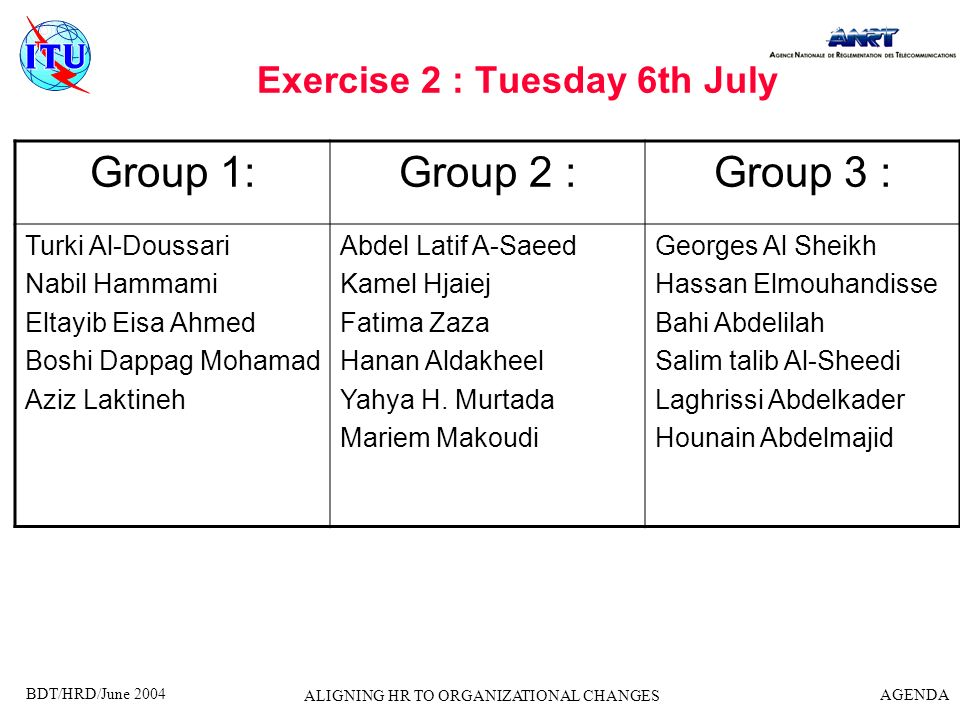 Exercise 2 : Tuesday 6th July