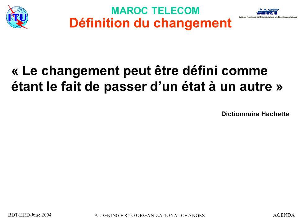 Définition du changement