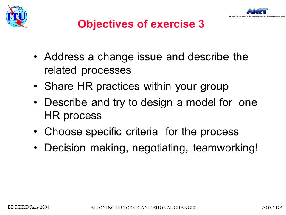 Objectives of exercise 3