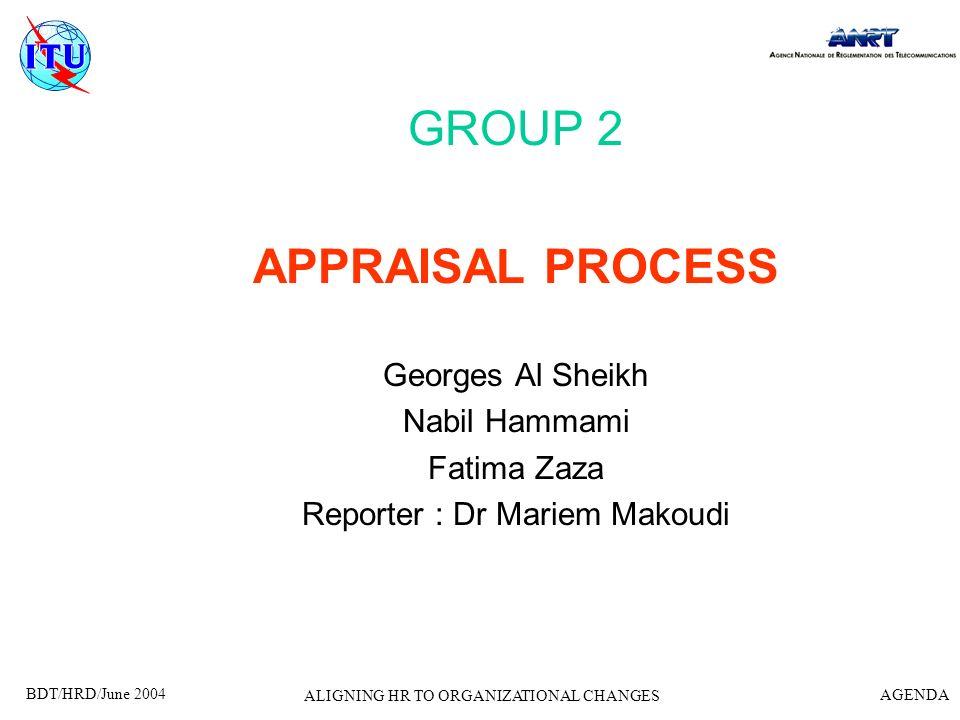GROUP 2 APPRAISAL PROCESS Georges Al Sheikh Nabil Hammami Fatima Zaza