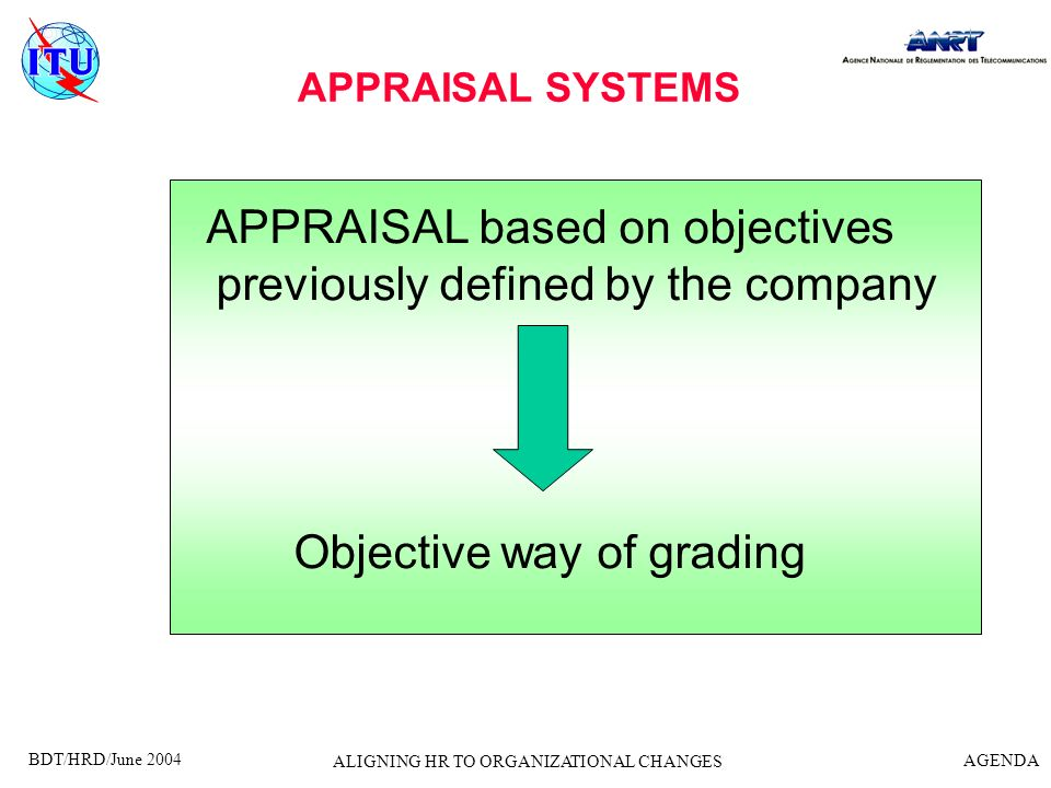 APPRAISAL based on objectives previously defined by the company