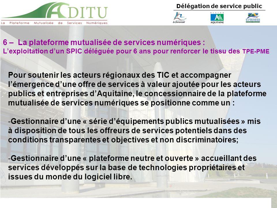 6 – La plateforme mutualisée de services numériques :