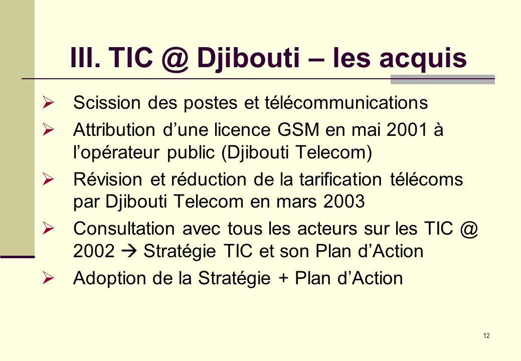 III. TIC @ Djibouti – les acquis