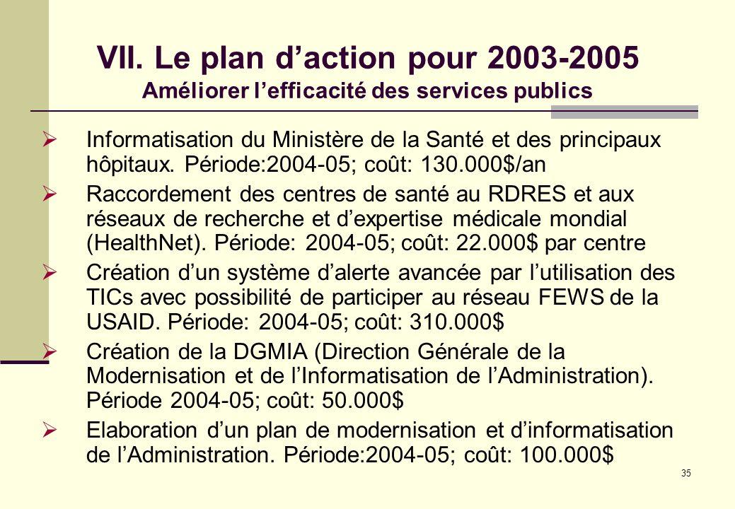 VII. Le plan d'action pour 2003-2005 Améliorer l'efficacité des services publics