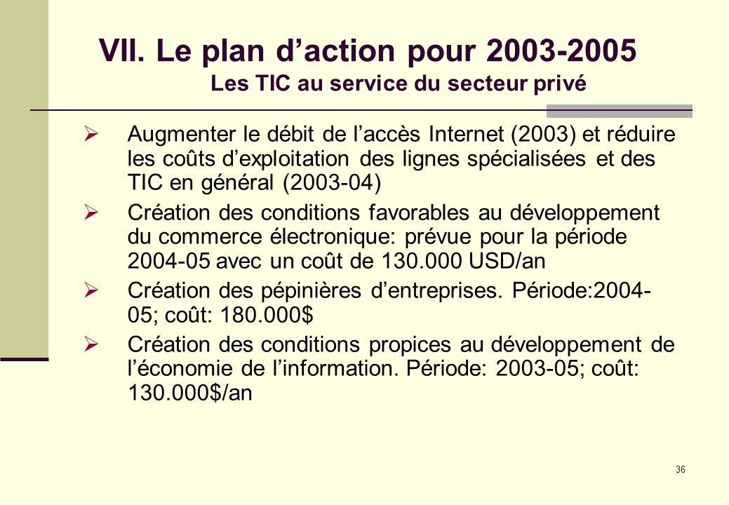 VII. Le plan d'action pour 2003-2005 Les TIC au service du secteur privé