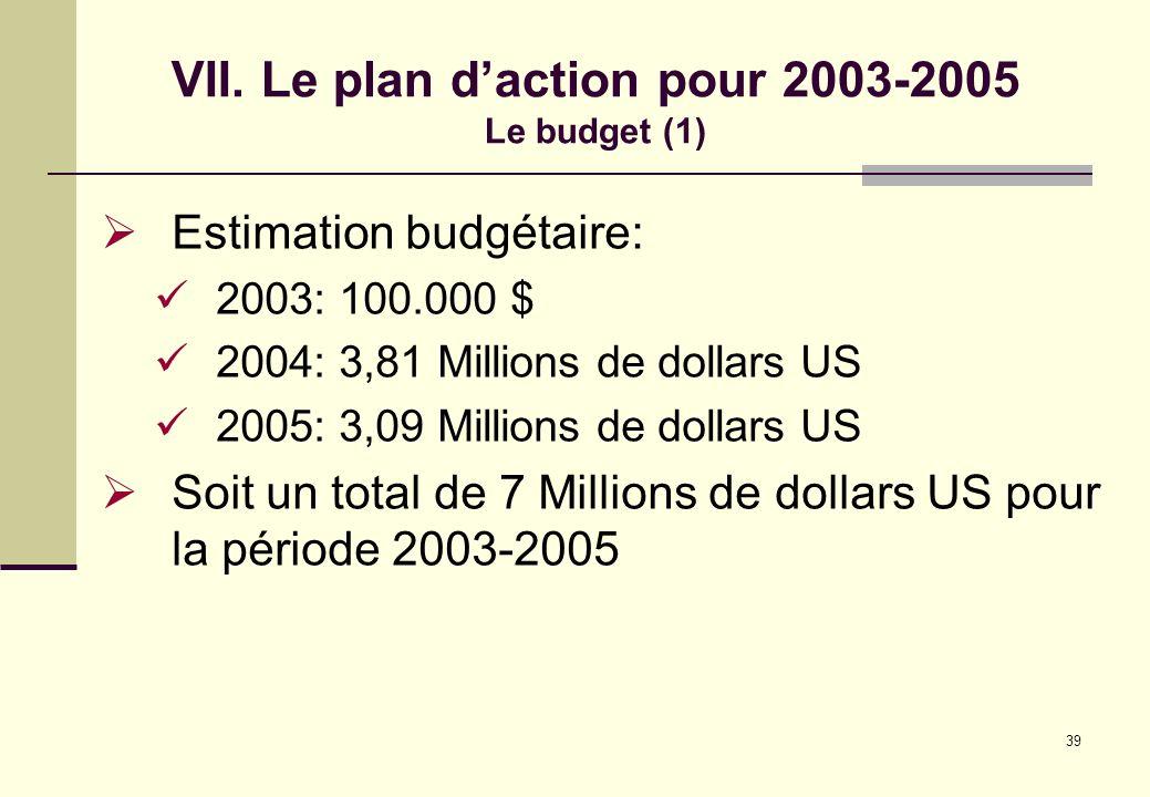 VII. Le plan d'action pour 2003-2005 Le budget (1)