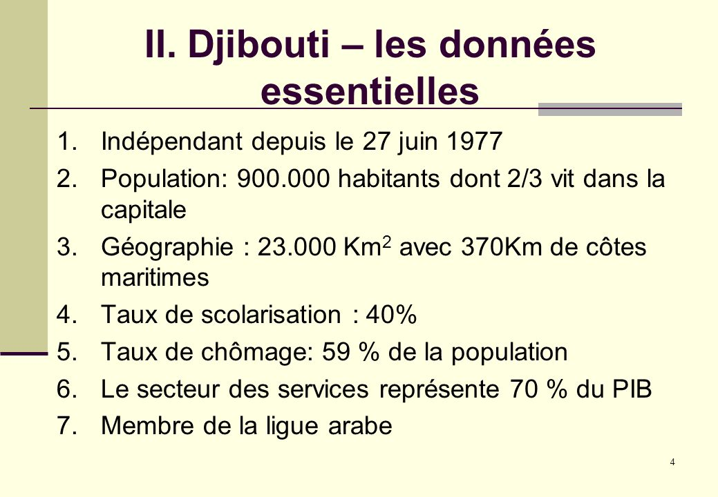 II. Djibouti – les données essentielles