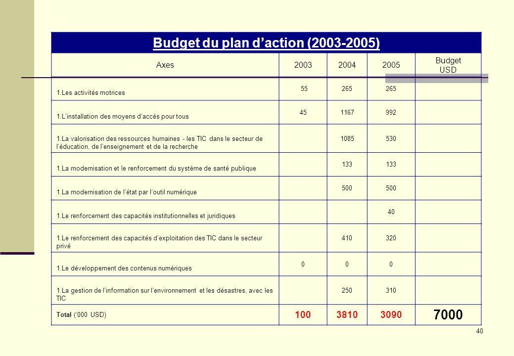Budget du plan d'action (2003-2005)