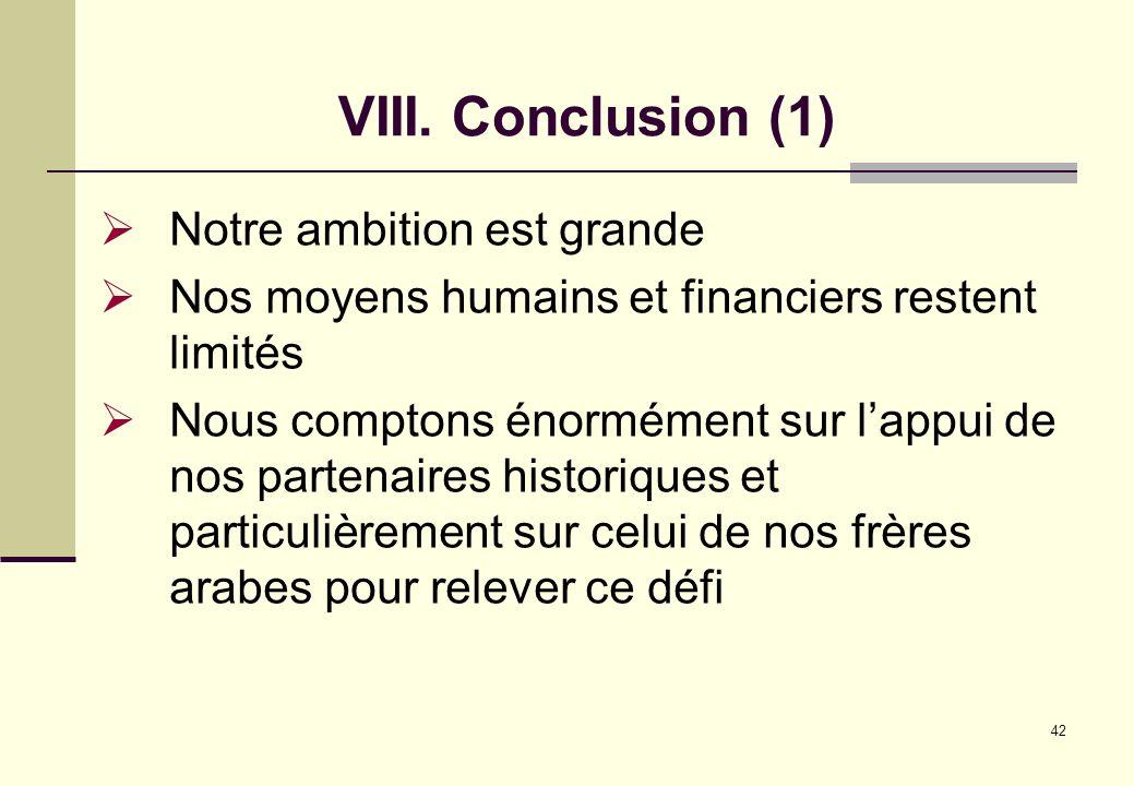 VIII. Conclusion (1) Notre ambition est grande