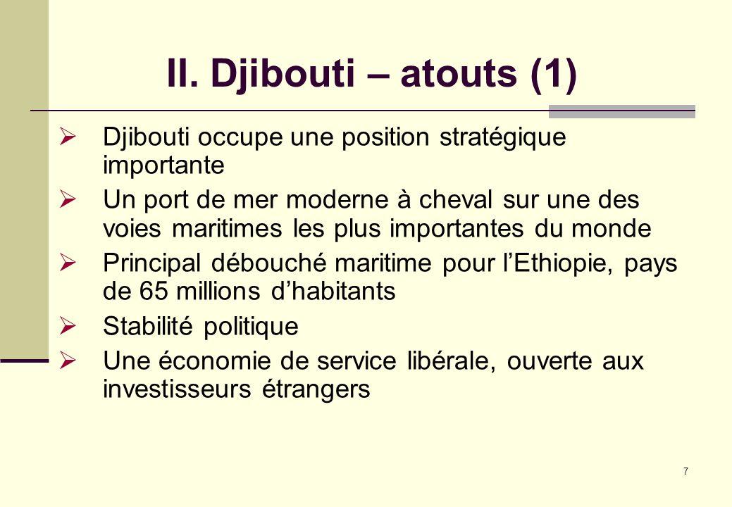 II. Djibouti – atouts (1) Djibouti occupe une position stratégique importante.