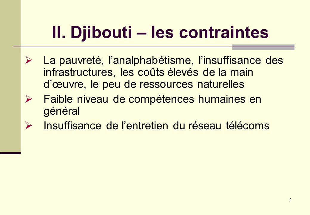 II. Djibouti – les contraintes