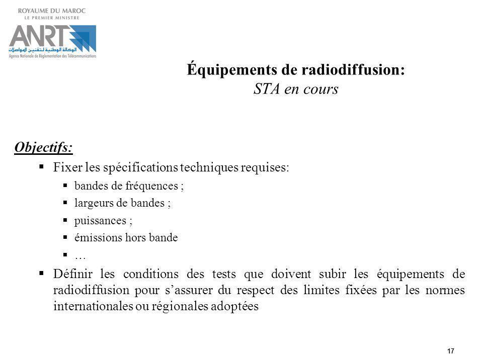 Équipements de radiodiffusion: STA en cours